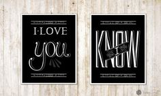 I Love You, I Know - Princess Leia and Han Solo - Star Wars Art Print Thought you'd dig these ;)