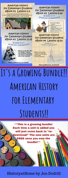 American History Complete Bundle 34 lessons for Homeschool and Grades American History Lessons, History For Kids, Social Studies Activities, Book Activities, Activity Books, Classroom Activities, Vocabulary Words, Teacher Resources, Teaching Ideas