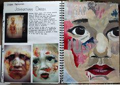 Urban Artist research, Jonathan Darby - GCSE A Level Art Sketchbook, Sketchbook Layout, Sketchbook Pages, Sketchbook Ideas, Kunstjournal Inspiration, Art Journal Inspiration, Natural Form Artists, Identity Artists, Artist Research Page