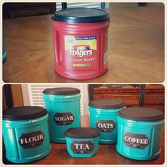 Super easy repurposed plastic coffee cans diy - How to decorate a coffee can ...