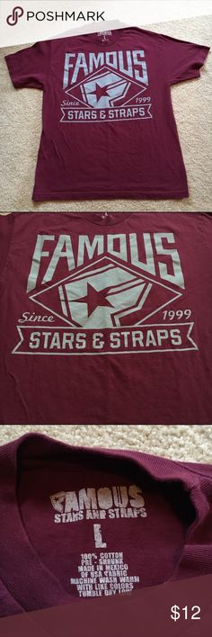Shirt, Famous Stars & Straps Since 1999 Still famous after all this time! Like new, maybe worn once. Colors intact, men's size. 50% off. Look dashing in this or cut it up- as I would. Color is maroon, with a punch! Famous Stars & Straps Shirts Tees - Short Sleeve