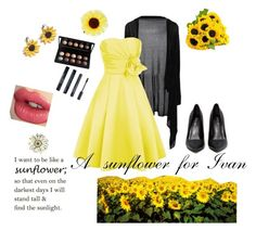 """""""A sunflower for Ivan"""" by beautiful-madnes ❤ liked on Polyvore featuring Hannah Makes Things, Philippa Craddock, ASOS, Privileged, Charlotte Tilbury, e.l.f. and Korres"""