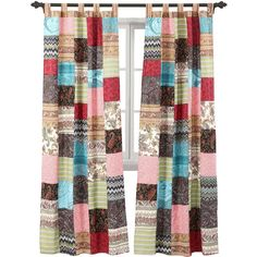 Greenland Home Fashions New Bohemian 2-Pack  Tab-Top Curtain Panels (917.220 IDR) ❤ liked on Polyvore featuring home, home decor, window treatments, curtains, patchwork curtains, bohemian curtains, tab curtains, window drapery and window curtain panels