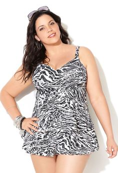 Black Animal Foil Swimdress with Tummy Control-Plus Size Swimwear-Avenue Plus Size Vests, Plus Size Outfits, Fat Girl Fashion, Fashion Outfits, Swimwear 2015, Basic Style, Plus Size Swimwear, Swim Dress, Nightwear