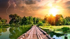 Lake Sunset Nature Lightning Summer Sky Path Wallpaper Sunrise