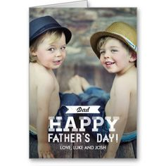 Personalize it - Vintage Ribbon Fathers Day Photo Card