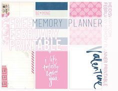 download this freebie printable for FEBUARY and Heidi Swapp's Memory Planner! 6 3x4 cards... print on white cardstock and vellum!