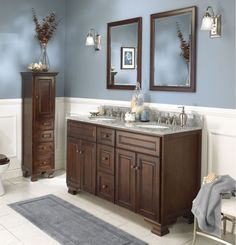 Dark Walnut Double Bathroom Vanity With Mirrors The Foremost Hawthorne 60 In Has A Wide Elegant Frame