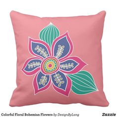 Colorful Floral Bohemian Flowers Throw Pillow
