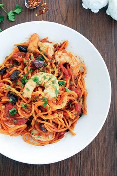Shrimp Puttanesca with Sweet Potato Noodles Against (without tomatoes and red pepper flakes)