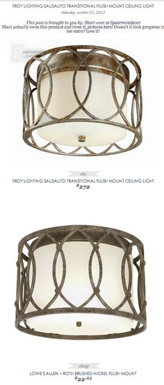 COPY CAT CHIC FIND: TROY LIGHTING SAUSALITO TRANSITIONAL FLUSH MOUNT CEILING LIGHT VS LOWE'S ALLEN + ROTH BRUSHED NICKEL FLUSH MOUNT