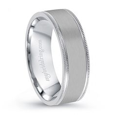 Beautiful with Comfort Fit Mens Wedding Band - http://www.mybridalring.com/Mens/plain-milgrain-engagement-band/