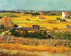Harvest at La Crau, with Montmajour in the Background, 1888 - Vincent van Gogh .............#GT