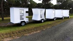 'exile' is an art installation composed of five mobile homes, each taking on the form of one of the letters used to spell out the word.