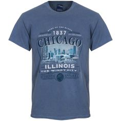 Chicago Men's Slate Blue Skyline Picture Dyed Tee by Lakeshirts Chicago Shirts, The Second City, Text Design, Chicago Illinois, Blues, Tee Shirts, Skyline, Slate, Mens Tops