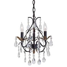 """$164 (D 13.25"""") Give your home a fresh look with the Minka Lavery 3-Light Mini Chandelier. Adorned with a warm, Castlewood walnut finish with silver highlights and decorative accents, this mini chandelier is the perfect finishing touch to any room."""