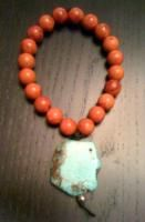 Red Coral, Turquoise Chunk  $27.00