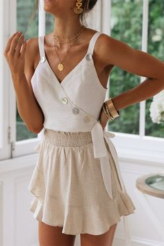 Tank Top For Women Off The Shoulder Sequin Top Peach Blouse Halter Tops For Women White Flowy Top White Flowy Top, Flowy Tops, White Dress, Short Outfits, Summer Outfits, Cute Outfits, Pretty Outfits, Crop Top Elegante, Rock Chic