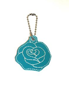 Flower Key Ring Embroidery Bag charm  Valentines Gifts Blue Enchanted Rose, Flower Bag, Embroidery Bags, Vinyl Fabric, Key Rings, Valentine Gifts, Charms, Pendant Necklace, Blue