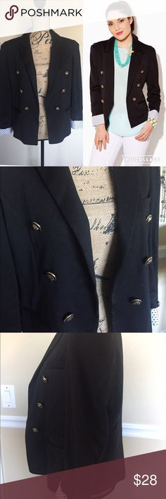 Charming Charlie Blazer This is a black Charming Charlie Blazer. It is size large & has gold buttons polka dot on inside lining which shows on sleeves. Has slightly puffed shoulders. In great condition Charming Charlie Jackets & Coats Blazers