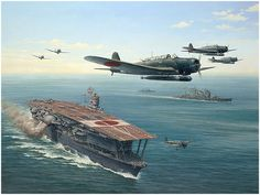 """A nicely detailed painting showing clearly the portside island, the massive starboard side funnel and the """"humped"""" flight deck 赤城 九七艦攻"""