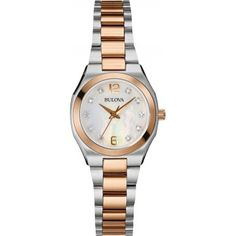 af8d4fc8decc Bulova Diamond Gallery Women s Quartz Watch with Mother of Pearl Dial  Analogue Display and Two Tone Stainless Steel Bracelet 98S143