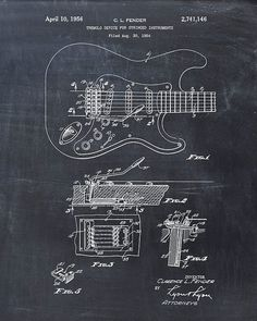 This is a print of the patent drawing for a Fender guitar patent in 1954. The original patent has been cleaned up and enhanced to create an