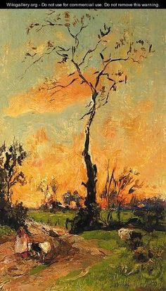 Ondergaande zon - Willem de Zwart
