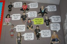 Great way to display class rules, reminders, etc. Use student photos with speech bubbles. Also use students to discuss class rules that they would enjoy having. Classroom Organisation, Classroom Rules, Classroom Behavior, Classroom Displays, School Organization, Future Classroom, School Classroom, Classroom Management, Classroom Environment
