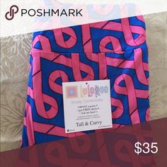0dd3ee5ed1d27 TC Breast Cancer Ribbons Leggings Lularoe Breast Cancer Ribbons Legging;  Tall and Curvy; made