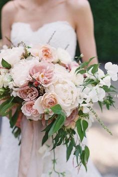 cascading wedding bouquets blush with roses peonies and greens vicki grafton via instagram #weddingbouquets