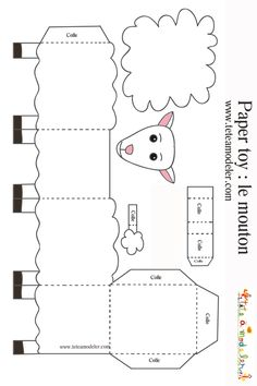 Sheep to print to make a paper toy on - Top Paper Crafts Eid Crafts, Ramadan Crafts, Bible Crafts, Paper Crafts, Sheep Template, Lamb Craft, Art For Kids, Crafts For Kids, Origami