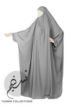 """1 pcs jilbab """"Fatimah"""" full length - light grey - Tasnimcollections"""