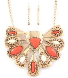 Coral Crystal Studed Necklace
