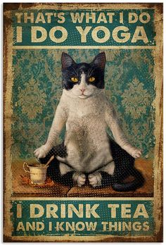 Vintage Moon, Cat Posters, Animal Projects, Cat Quotes, Cat Drawing, Crazy Cat Lady, How To Do Yoga, Drinking Tea, Cat Art