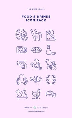 Series of 100 pixel-perfect icons, created by influence of the restaurant, cafe & bar business. App Design, Icon Design, Design Layouts, Mobile Design, Flat Design, Restaurant Icon, Drink Icon, Ui Patterns, Food Icons