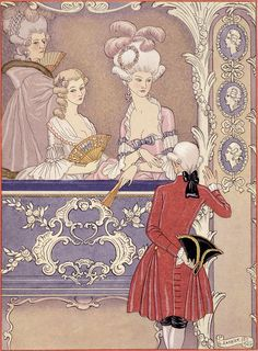 Women In A Theater Box - Georges Barbier