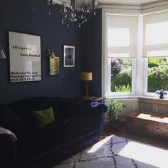 Blue Feature Wall Living Room, Dark Blue Feature Wall, Navy Living Rooms, New Living Room, Living Room Decor, Dining Room, Dark Blue Living Room, Feature Walls, Stiffkey Blue