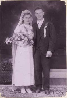 Jozef Wsol & Luba Kofterowa (grandparent's wedding, 16 September, 1945). My grandmother had bought the material for her wedding dress on the black market.