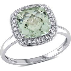 Tangelo 2-5/8 Carat T.G.W. Green Amethyst and 1/10 Carat T.W. Diamond 10kt White Gold Halo Cocktail Ring