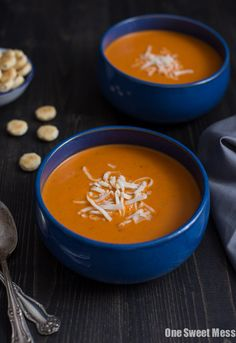 This Roasted Red Pepper Smoked Gouda soup is intensely flavorful and velvety smooth. The hint of smoke from the gouda gives this soup a rich depth of flavor.