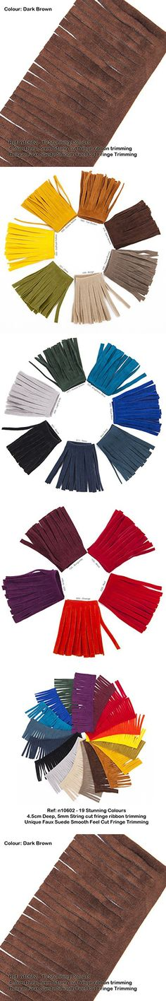 Neotrims Vegan Faux Suede Leather Tassel Cut Fringe Trimming, Cowboy Western Fringe, 19 Colours, Boho Chic Style Edge Ribbon for Costume, Home Décor & Crafts. Vegetarian option to Real Seude. Great Price