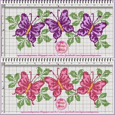 This Pin was discovered by Yo. Butterfly Cross Stitch, Cross Stitch Rose, Cross Stitch Borders, Cross Stitch Animals, Cross Stitch Flowers, Cross Stitch Charts, Cross Stitch Designs, Cross Stitching, Cross Stitch Embroidery