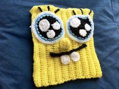 """Gorro de lana """"Bob Esponja"""" (""""Spongebob Squarepants"""") tejido a mano en crochet / ganchillo"""