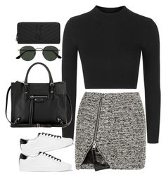 """Untitled#4466"" by fashionnfacts ❤ liked on Polyvore featuring Bouchra Jarrar, Topshop, MICHAEL Michael Kors, Balenciaga, Ray-Ban and Yves Saint Laurent"