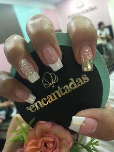 Love Nails, My Nails, Diamond Nails, Nail Decorations, French Nails, White Nails, Manicure And Pedicure, Summer Nails, Nail Art Designs