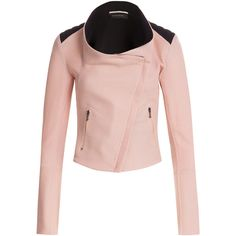 Roland Mouret Funnel Neck Blazer (€455) ❤ liked on Polyvore featuring outerwear, jackets, blazers, none, pink blazer jacket, quilted blazer, quilted moto jacket, pink jacket and motorcycle jacket