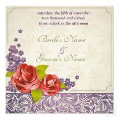 Elegant Roses Wedding Personalized Invite