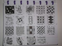 TANGLE PATTERNS PAGE 3 OF 19- #doodles #zendoodle # doodle-----Tekenpraktijk De Innerlijke Wereld: Tangle-patronen