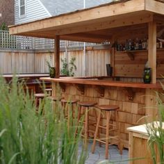 An outdoor bar makes entertaining so easy! Check out these awesome built-ins and creative DIY ideas that are perfect for any backyard party. ideas about Patio bar, Outdoor bars near me and Farmhouse outdoor bar furniture. Outdoor Bar Furniture, Outdoor Patio Bar, Outdoor Kitchen Bars, Outdoor Living, Outdoor Bars, Outdoor Wooden Bar, Outdoor Pallet, Outdoor Kitchens, Outdoor Life